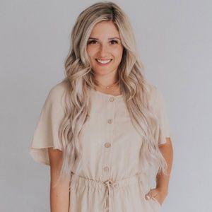 6684af42439f Ashley Lemieux Pants - NWT Ashley Lemieux Cream Jumpsuit